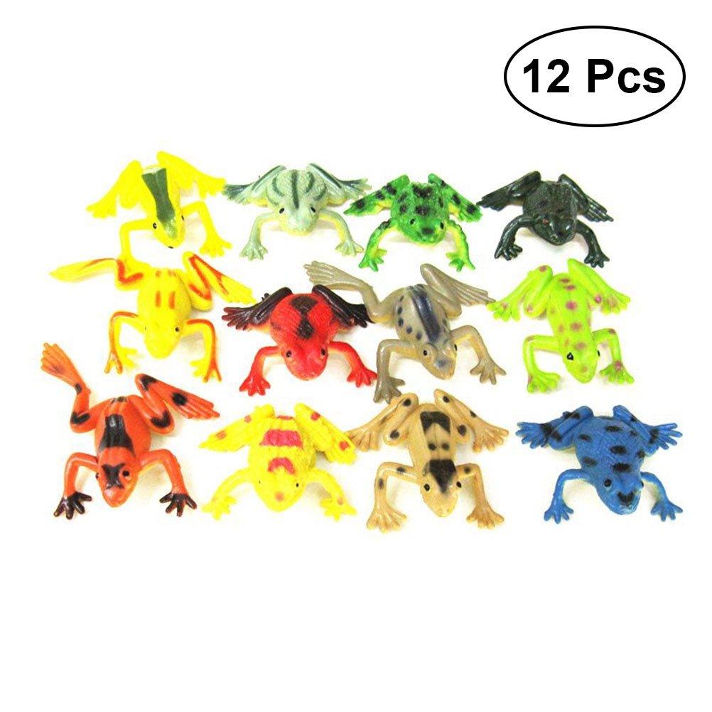 TOYANDONA Simulation Tropical Frog Figur Realistische Tier Lernspielzeug für Kinder 12 stücke