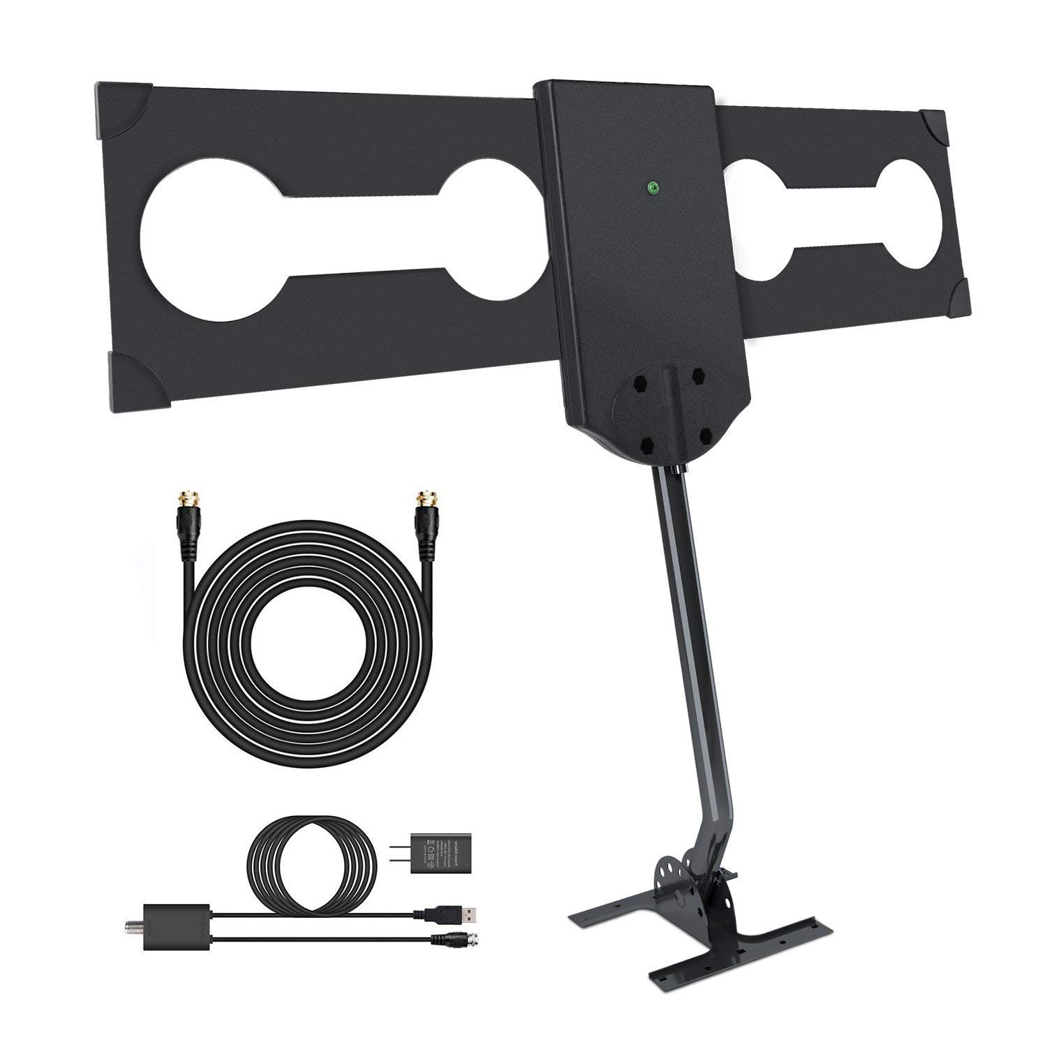 GJT 150 Miles Range Outdoor TV Antenna High Reception Digital HDTV Attic/Roof Antenna with Amplifier and Mount Kit for Free Channel,30ft High Performance Coax Cable with Adapter (GJT-ANT09) by GJT