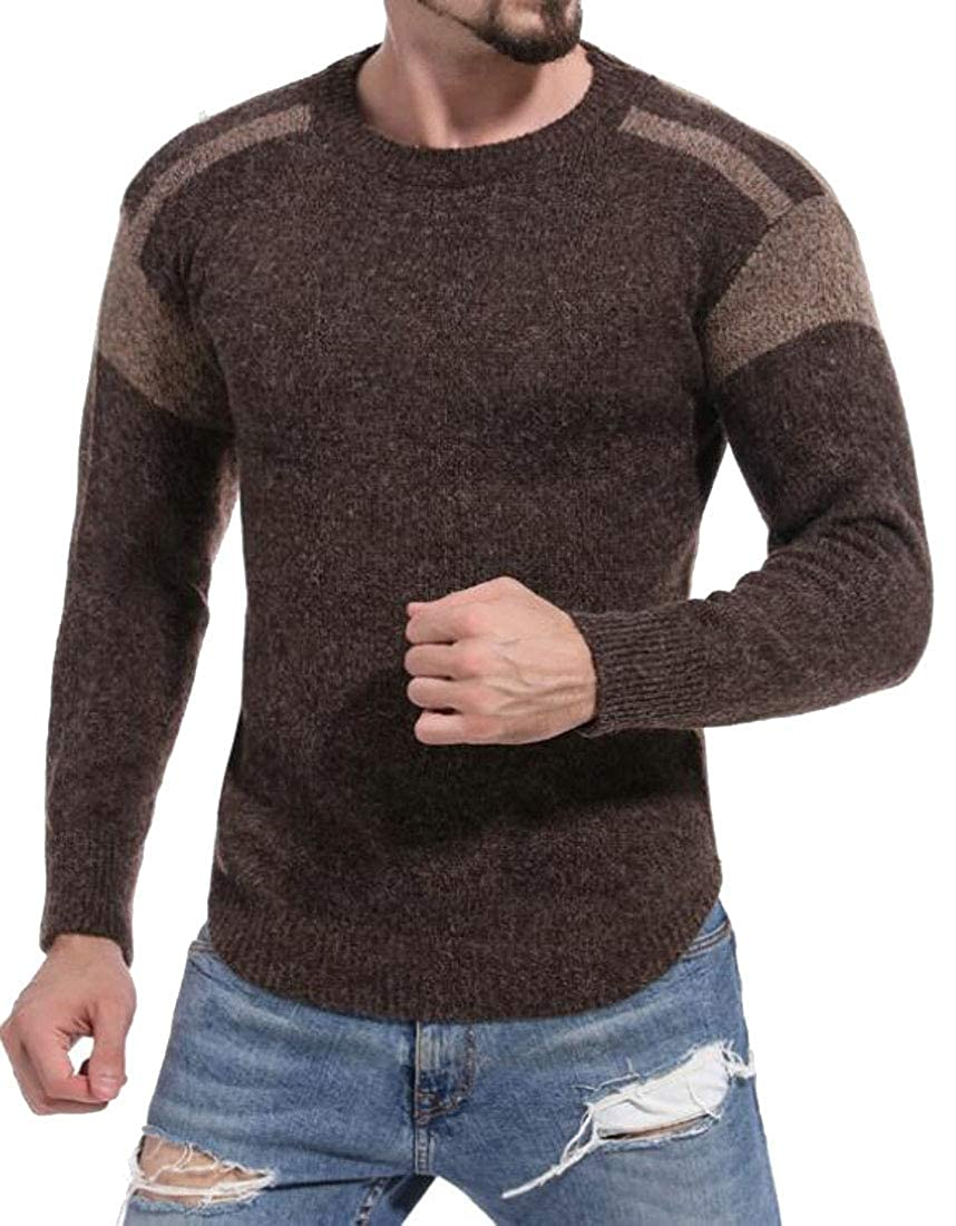 SHOWNO Mens Stretchy Contrast Knitted Crew Neck Autumn Winter Slim Pullover Sweater