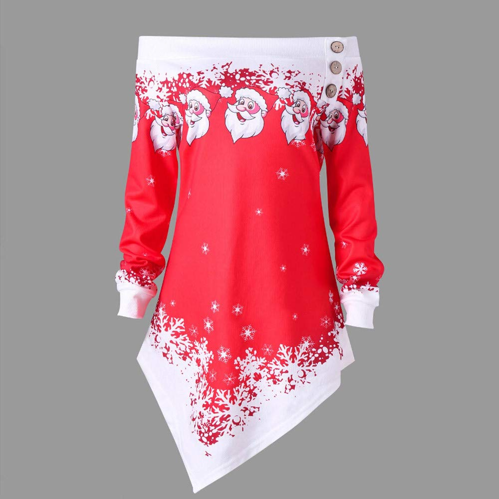 YOcheerful Women Merry Christmas Pullover Long Sleeve Sweatshirt Shirt Tee Top Blouse Autumn Tunic Jumper F-red,XS