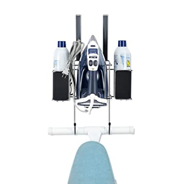 Ironing Board Hanger- with Storage Basket for Clothing Iron - Ironing Board Holder Wall Mount/or Over The Door