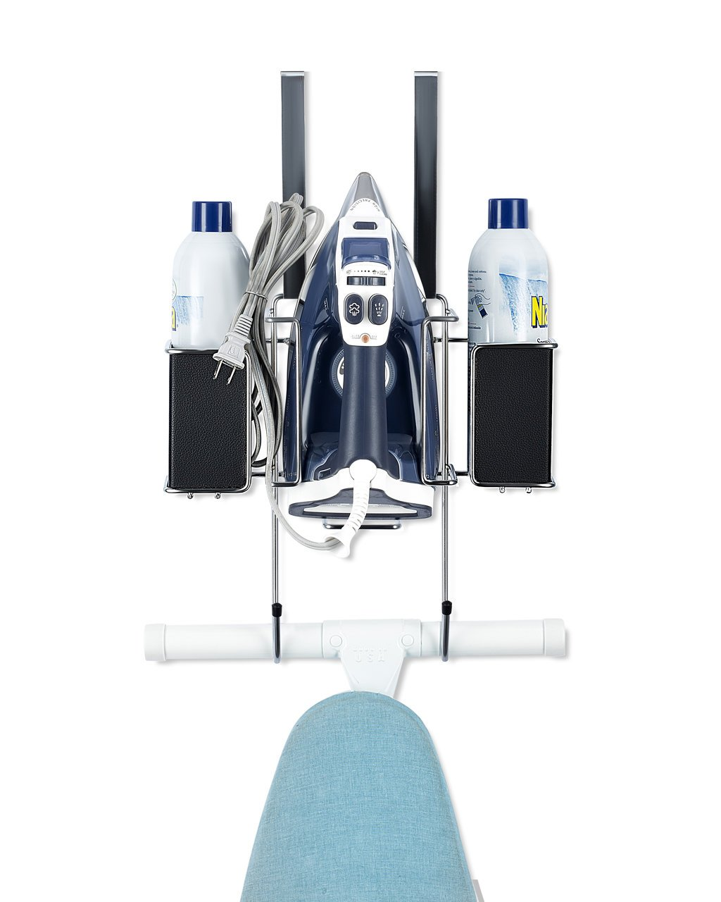 Ironing Board Hanger- with Storage Basket for Clothing Iron - Ironing Board Holder Wall Mount