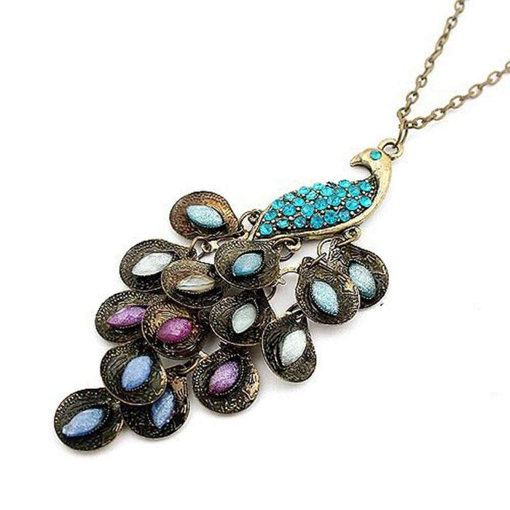 Dolland Vintage Peacock Statement Necklace Women Vintage Costume Necklace Carved Pendant Jewelry,Blue Diamond