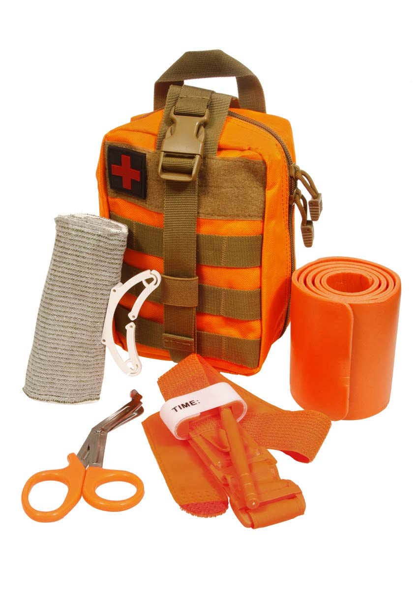 Emergency Survival Trauma Medical Kit with Tourniquet 36'' Splint, Military Combat Tactical IFAK for First Aid Response, Critical Wounds, Gun Shots, Blow Out, Severe Bleeding Control (Orange)