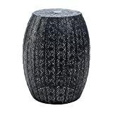 Accent Plus Garden Stool Metal, Modern Black Moroccan Lace Decorative Indoor Garden Stool