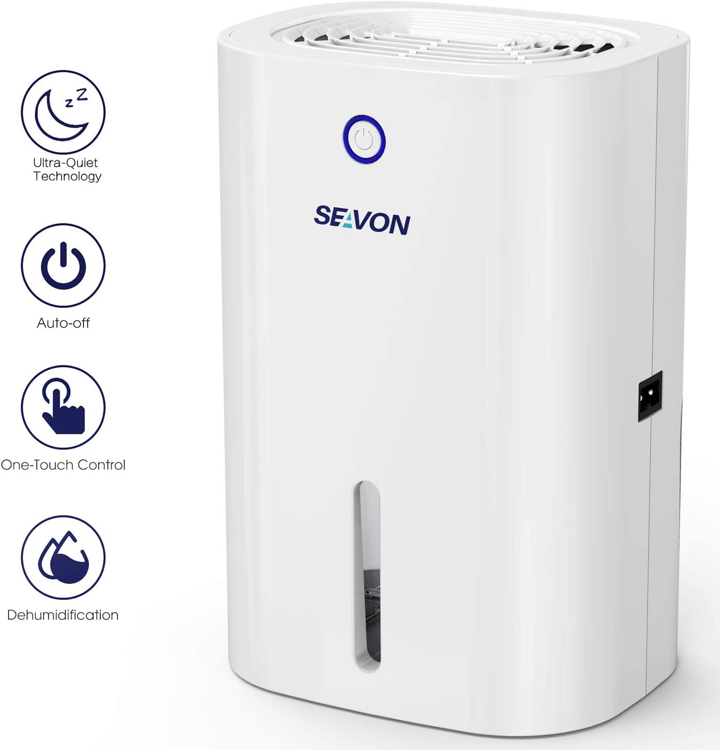 SEAVON Electric Small Dehumidifier, 2200 Cubic Feet (140- 220 sq ft), Auto Shut Off, Portable and Compact 800ml Capacity Quiet Small Dehumidifiers for Home, Basements, Closet, Bedroom, Bathroom, RV, Kitchen