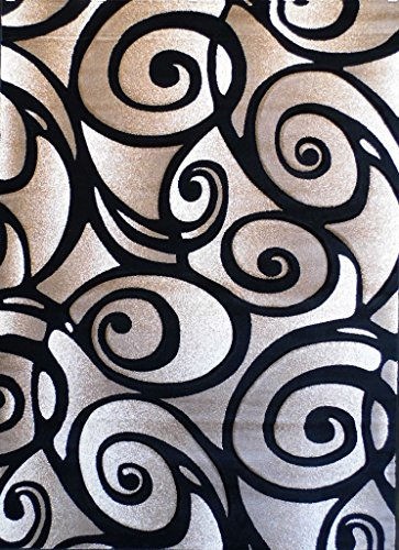 Modern Area Rug Design # SC 241 Black (8 Feet X 10 Feet 6 Inch)