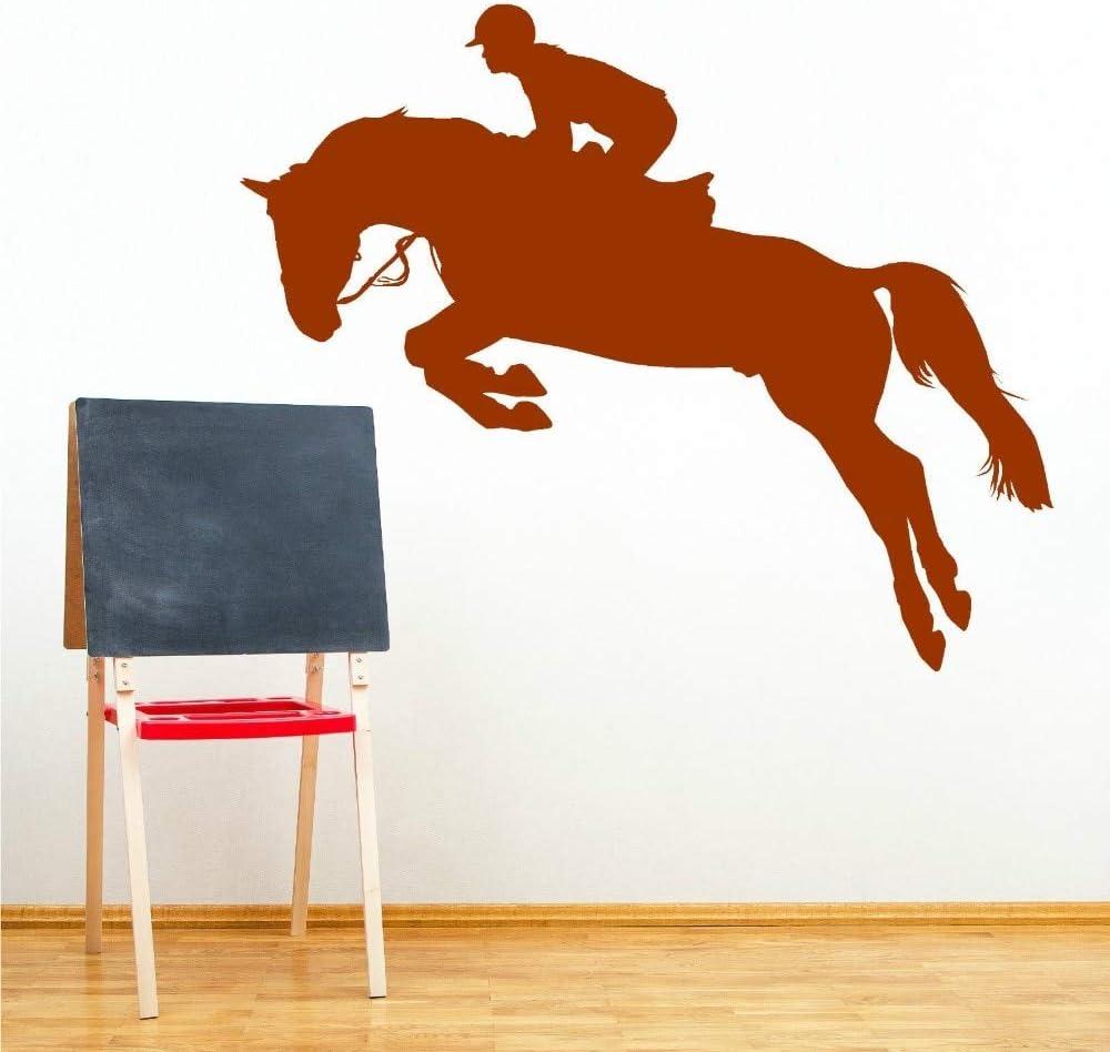zhuziji Bóveda de Caballos Decoración del hogar Tatuajes de Pared Caballero Jockey Vinilo Etiqueta de la Pared Decoración del hogar Arte Wallpaper 54x68cm