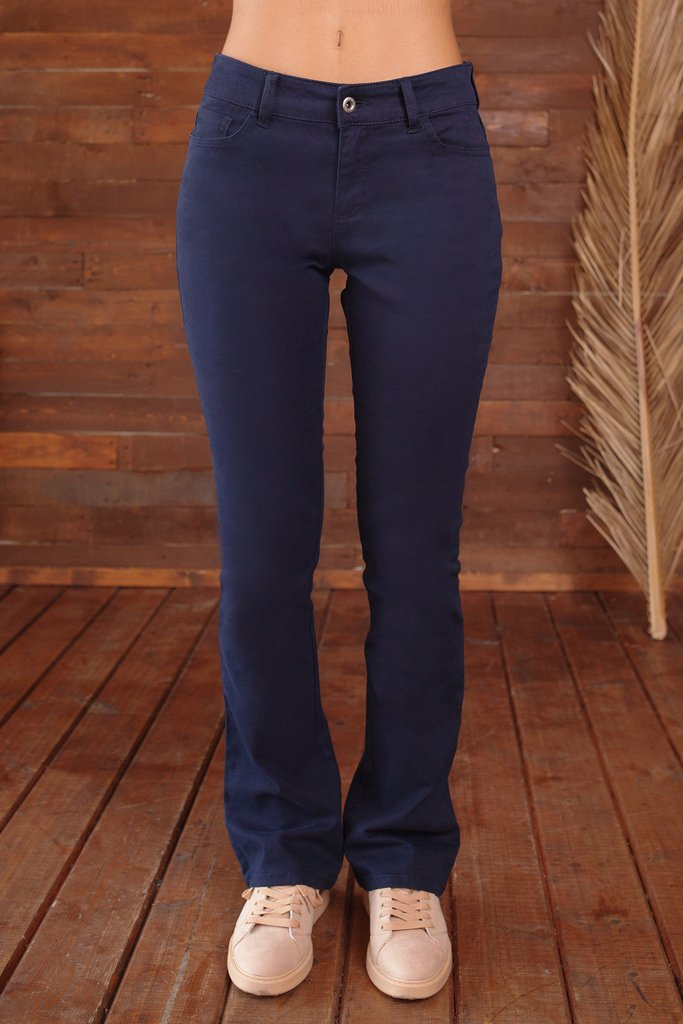 Bebop Women's Size 7, Navy, 5 Pocket Bootcut Stretch Cotton Twill Chino Pant by Be Bop (Image #3)