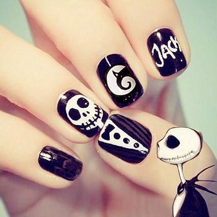 Mimei 24 Piezas Uñas Postizas Halloween, Uñas Postizas Negras y Blancas para las Mujeres Niñas