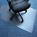 Valuebox Transparent 48'' x 36''PVC Home Office Chair Mat 2mm Thick with Rectangular Lip For Carpet