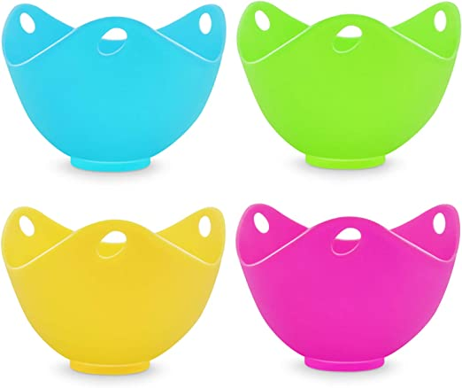Silicone Egg Poacher Cups,Eggs Poaches Without the Stress or Mess,Set of 4 Nonstick Pods For Easy Release and Cleaning - BPA Free,Stove Top and Dishwasher Safe