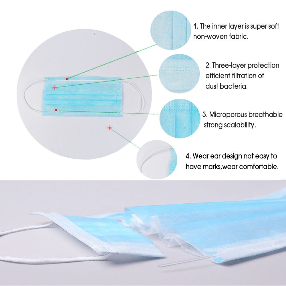 Buy 3 Disposable Chrislz Blue Face Filter Plys Surgical Dust Or