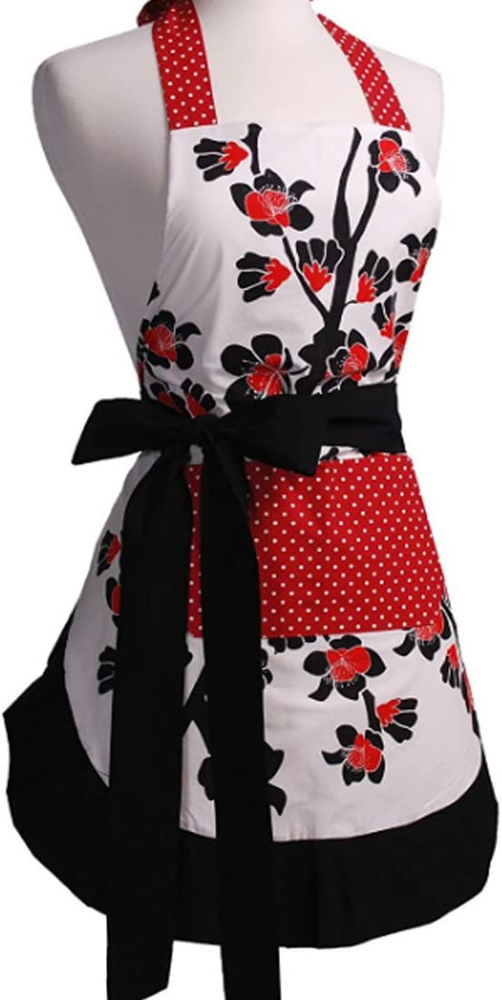LroHan Womens Floral Apron with Pockets Vintage Ladies Adjustable Chefs Aprons for Kitchen Cooking Baking and Gardening