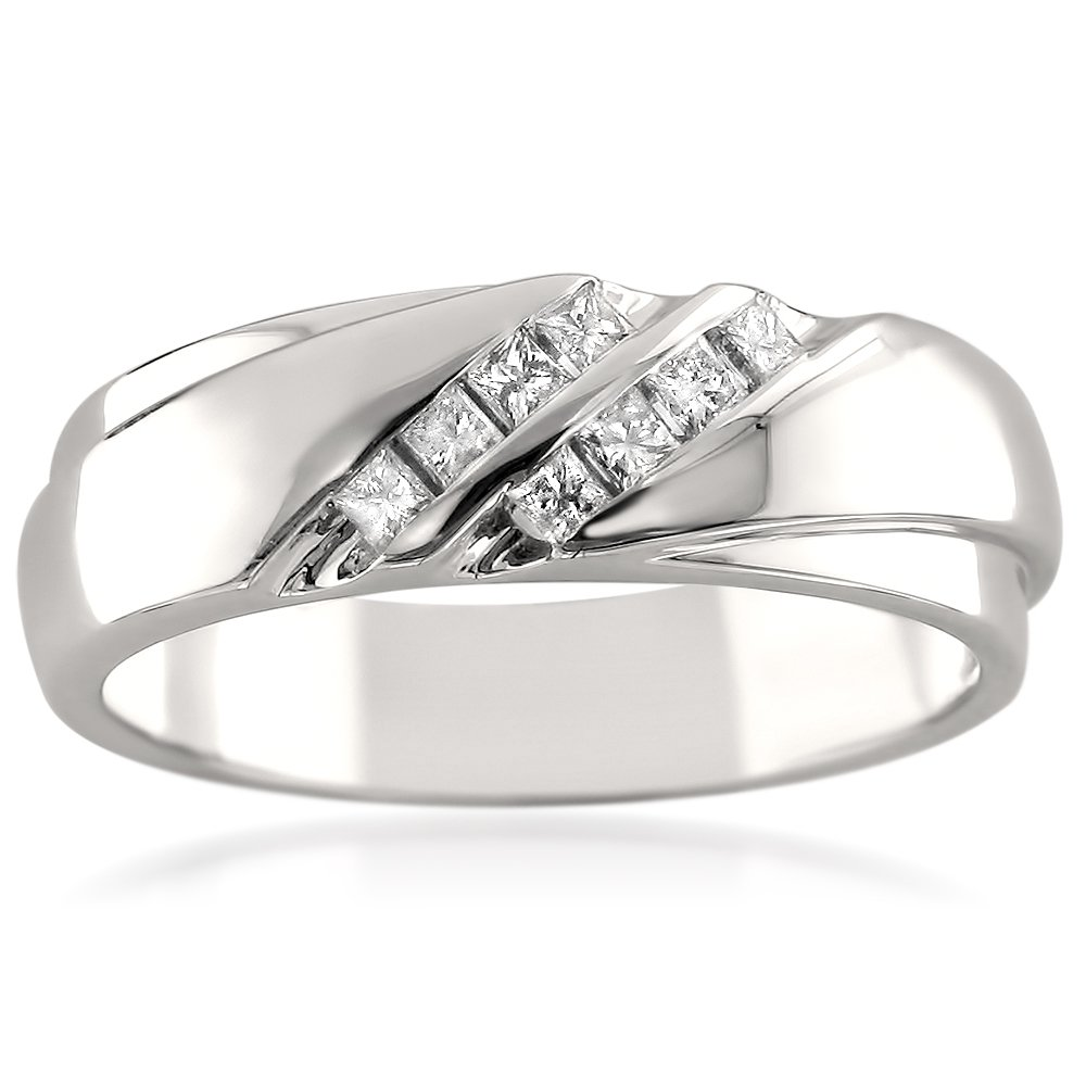 La4ve Diamonds 14k White Gold Double Row Princess-Cut Diamond Men's Wedding Band Ring (1/4 cttw, I-J, I1-I2), Size 11.5
