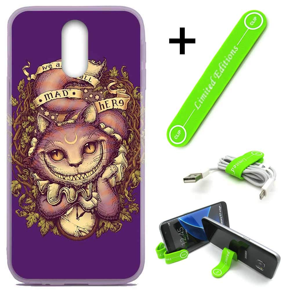 [Ashley Cases] for LG [Aristo 3][Tribute Empire][Phoenix 3,4][Rebel 3,4][Zone 4][Risio 2,3][Fortune 2] Cover Case Skin with Flexible Phone Stand - Alice in Wonderland Cat Gothic
