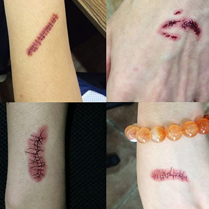 Temporay Tattoos, 10 hojas de diseño diferentes, Halloween Zombie ...