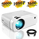 "Mini Projector, ELEPHAS 3600 Lumens Portable Projector Max 180"" Display 50000 Hours Lamp Life LED Video Projector Support 1080P, Compatible with USB/HD/SD/AV/VGA for Home Theater (White)"