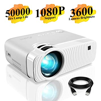 "d417067692b07e Mini Projector, ELEPHAS 3800 Lumens Portable Projector Max 180""  Display 50000 Hours Lamp Life"