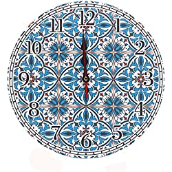 LOHAS Home 12 Inch Silent Vintage Design Wooden Round Wall Clock, Arabic Numerals,Vintage Rustic Shabby Chic Style (Mediterranean Style)
