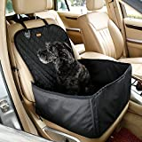 Pettom Pet Bucket Seat Cover Booster Seat 2 in 1 Deluxe Dog& Cat Front Seat Cover for Cars Non- Slip Backing Waterproof ,17.7 X 17.7 X 22.8 Inches (Black)