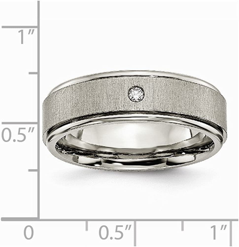 Brilliant Bijou Titanium Brushed//Polished 0.05ct Diamond Rounded Edge Band
