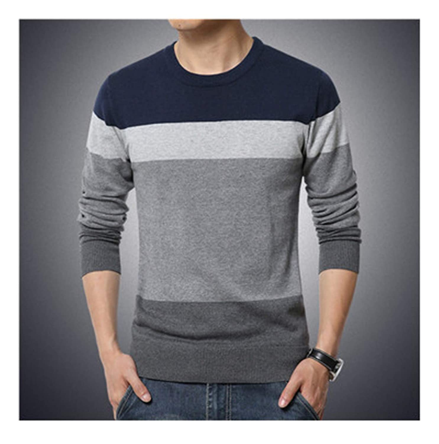 Susie Zechariah Casual Pullover Men Autumn Round Neck Patchwork Knitted Brand Male Sweaters
