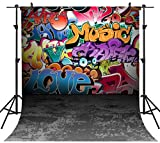 OUYIDA 10X10FT Seamless Wall Graffiti Style Pictorial Cloth Photography Background Computer-Printed Vinyl Backdrop TG01D