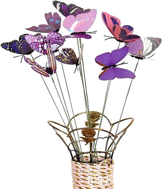 pittospwer - Juego de 10 Piezas de simulación de Mariposa, bastón de jardín Exterior, Maceta de Flores, Adorno de decoración, Morado: Amazon.es: Jardín