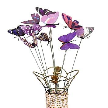 Momangel 10Pcs//Set Simulation Butterfly Stick Ornament Home Outdoor Garden Flower Pot Decor Ornament Bonsai Patio Decor Outdoor Lamp Garden Yard Lawn Light Eco Friendly Purple