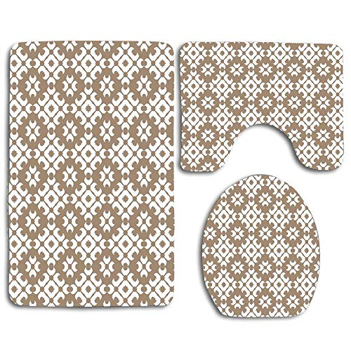 EnmindonglJHO Classy Floral Victorian Patterns Romantic Western Retro Renaissance English Modern Decor Bathroom Rug Mats Set 3 Piece Shower Bath Rugs Contour Mat Lid Cover