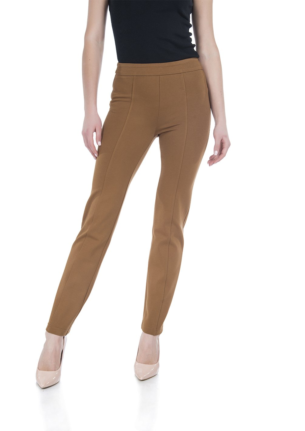 Soshow Women Pull On Rayon Pants Ladies Elastic Waist Bootcut Straight Leg Trousers Stretch Comfy Pants for Work