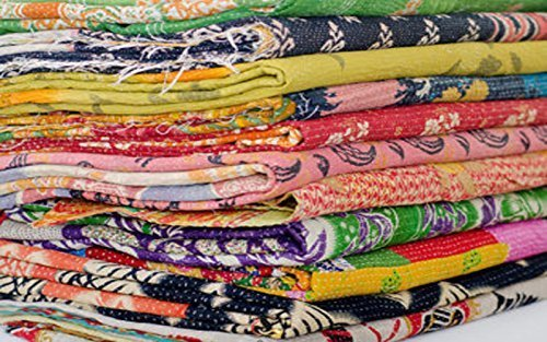 Sophia Art 10 Pcs Lot of indian tribal kantha quilt Vintage Cotton Bed cover Wholesale balnket