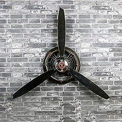 QBDS Industrial Wind Loft Retro Wrought Iron Propeller Model Wall Decoration Wall Clock, Bar Cafe Home Decor Creative Wall Decoration Decorative Pendant (Color : B)
