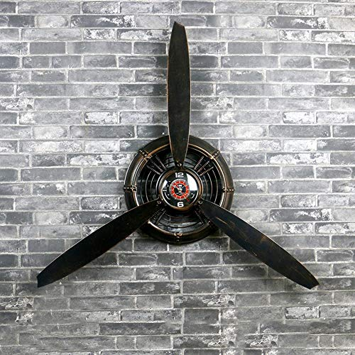SPLY DTEM Wall Clock Industrial Wind Ornament Aircraft Propeller Wrought Iron Wall Decoration Wall Hanging Wall Decorative Wall Clock (Color : Black) ()