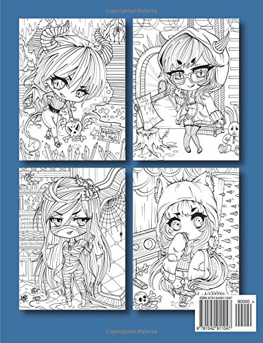 chibi girls horror an adult coloring book with cute japanese drawings gothic fantasy girls - Gothic Coloring Book