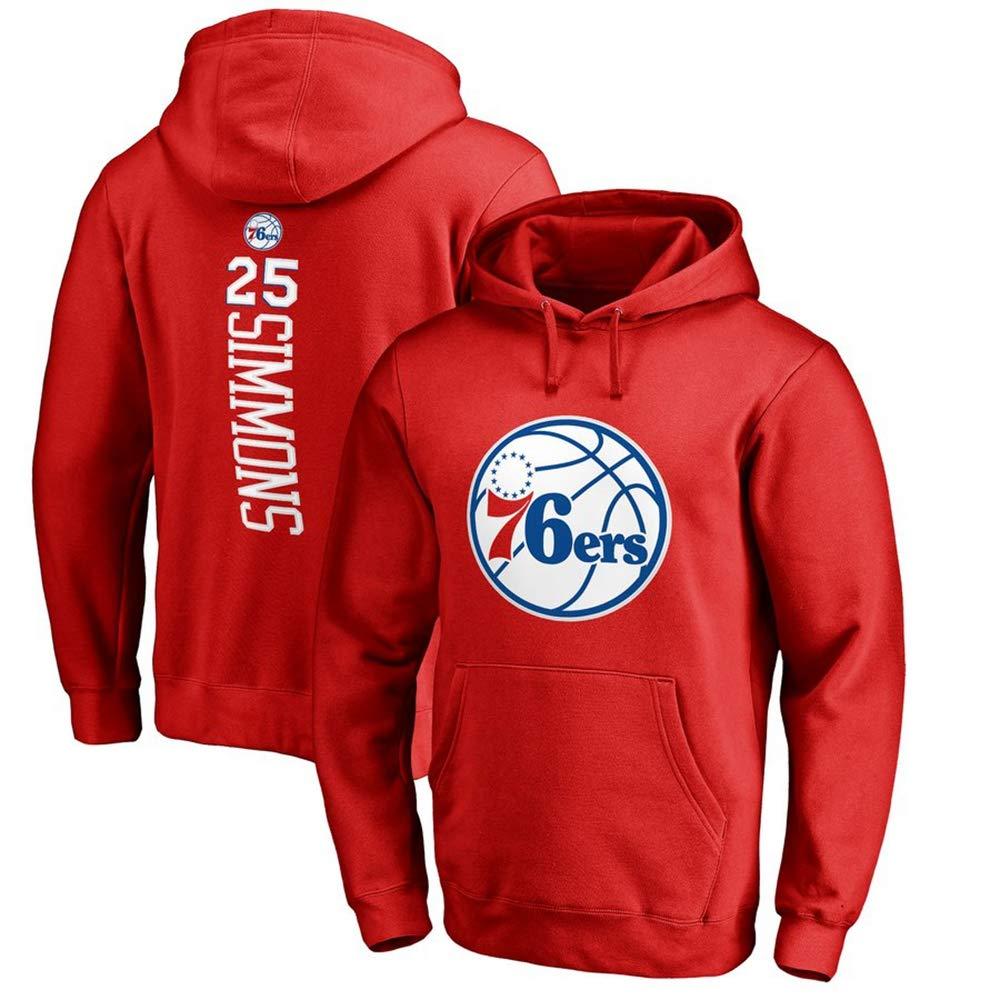 BXWA-Sports Basketball Hoodie NBA # 25 Ben Simmons Philadelphia 76ers Sport Pullover Jacken-Sweatshirt Tops Basketball-Wettbewerb Trikots,Grau,S