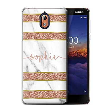 89c0b56a09a Amazon.com  Personalized Custom Rose Gold Marble Glitter Case for ...