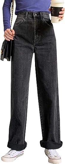 [MLboss]ジーンズ レディース デニムパンツ ゆったり ロング ストレートパンツ ハイウエスト 着痩せ ジーパン ファッション 秋 冬 Gパン ワイド カジュアル ズボン