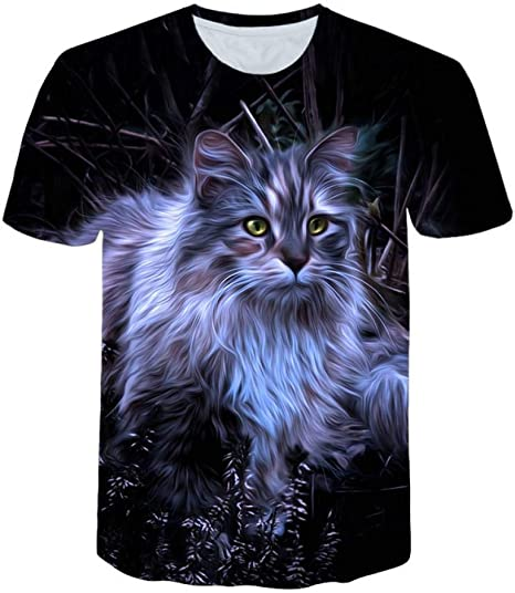 RCFRGV 3D Camiseta Negro 3D Gato Animal Mujeres Casual Camiseta Marca de Ropa Hombres Mujeres Manga Corta Camiseta Transpirable Mujer Fitness Tops: Amazon.es: Deportes y aire libre