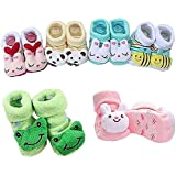 WEBBOON Cartoon Face Booties For Baby Girl And Boy- 0-6 Months,Multicolor) PACK OF 3 PARE