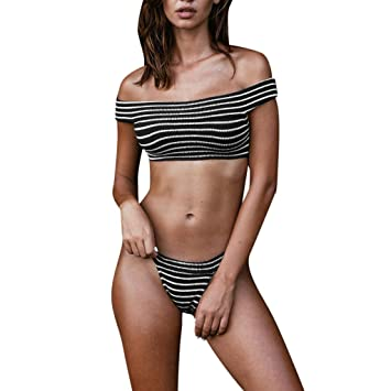 f6322b865eab5 Image Unavailable. Image not available for. Color: HighlifeS Women's Short  Sleeve Bikini Set Sport Swimsuit Top High Cut Thong Bottom (Gray,