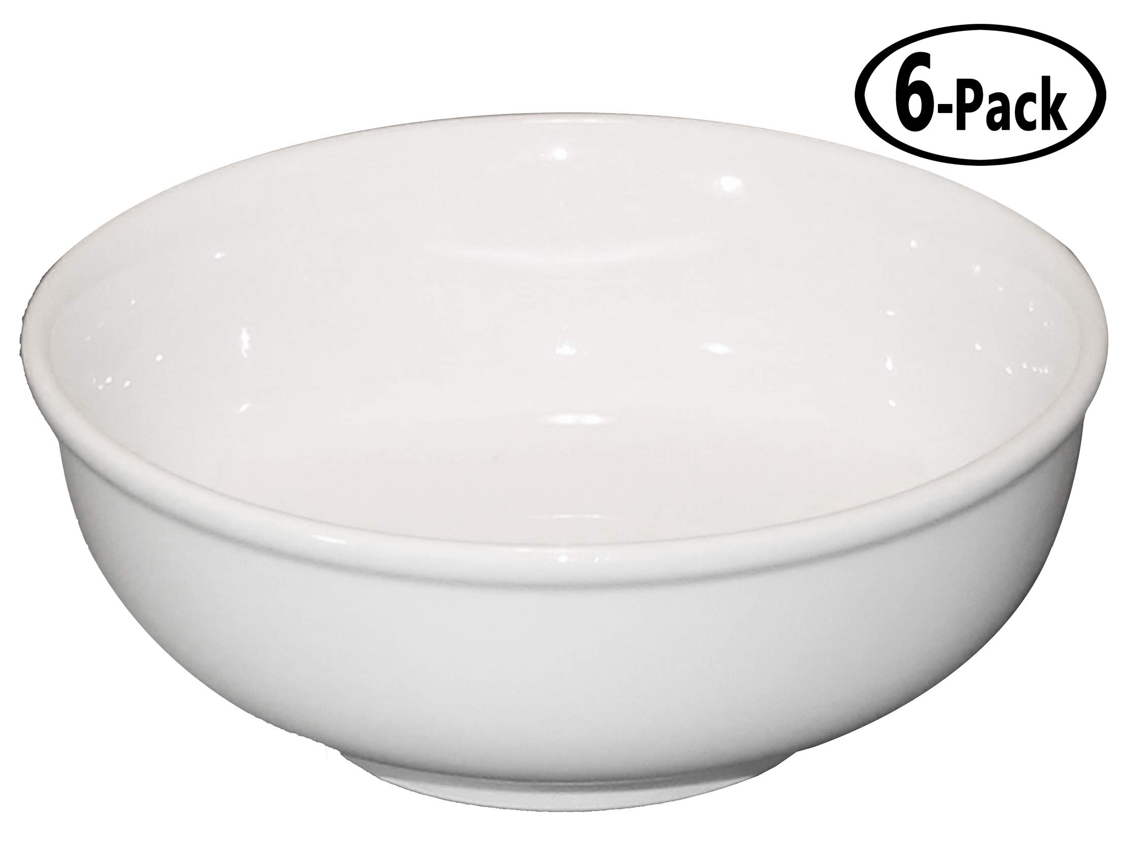 Cameo Ceramic Pho Soup Bowls with Pan Scraper, 7.25 Inch, 38 Ounce, Set of 6, White Ivory