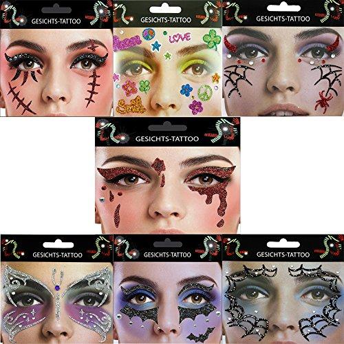 Gesicht Tattoo Face Art Halloween Karneval Trane Fledermaus Flower
