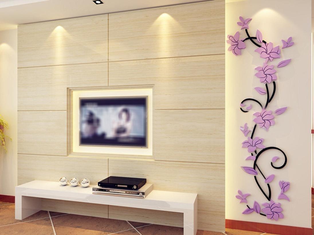 Kingko® DIY 3D Kristall-Pflanzen-Blumen-Wand-Aufkleber-Wohnzimmer ...
