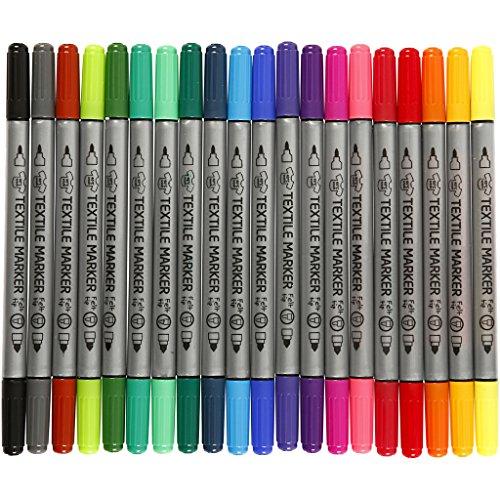 Textilmalstifte, Dicke 2,3+3,6 Strichstärke, sortierte Farben, 20sort.