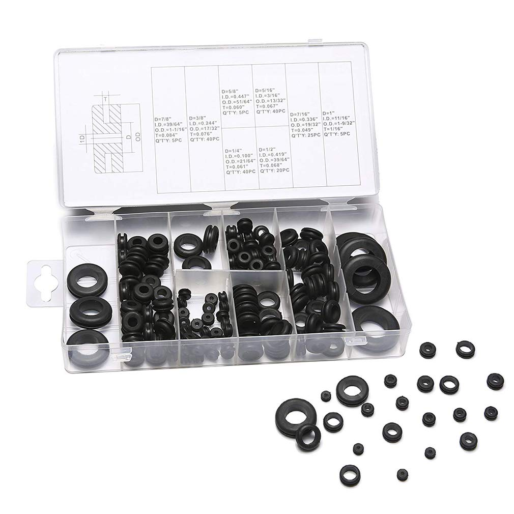 Rubber Grommet Kit 180pcs Electrical Wire Gasket Assortment Set with Organizer Case 8 Sizes for Cables Drilling Automotive Plumbing Repair
