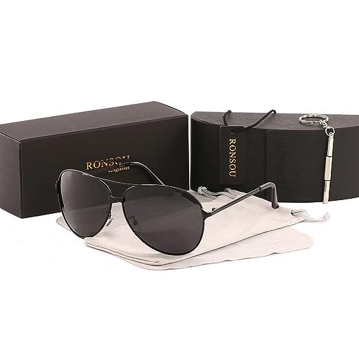 c6ebf810695 Ronsou Men Women Aviator Polarized Sunglasses UV400 Mirror eyewear For  Driving Fishing Outdoor black frame