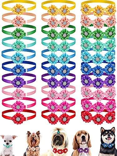 30 Pieces Dog Bow Tie Pet Flower Collar Diamond Crystal Dog Accessories Dog Flower Bows Small Dogs Cat Puppy Bowtie Collar Dogs Bowties Pet Supplies