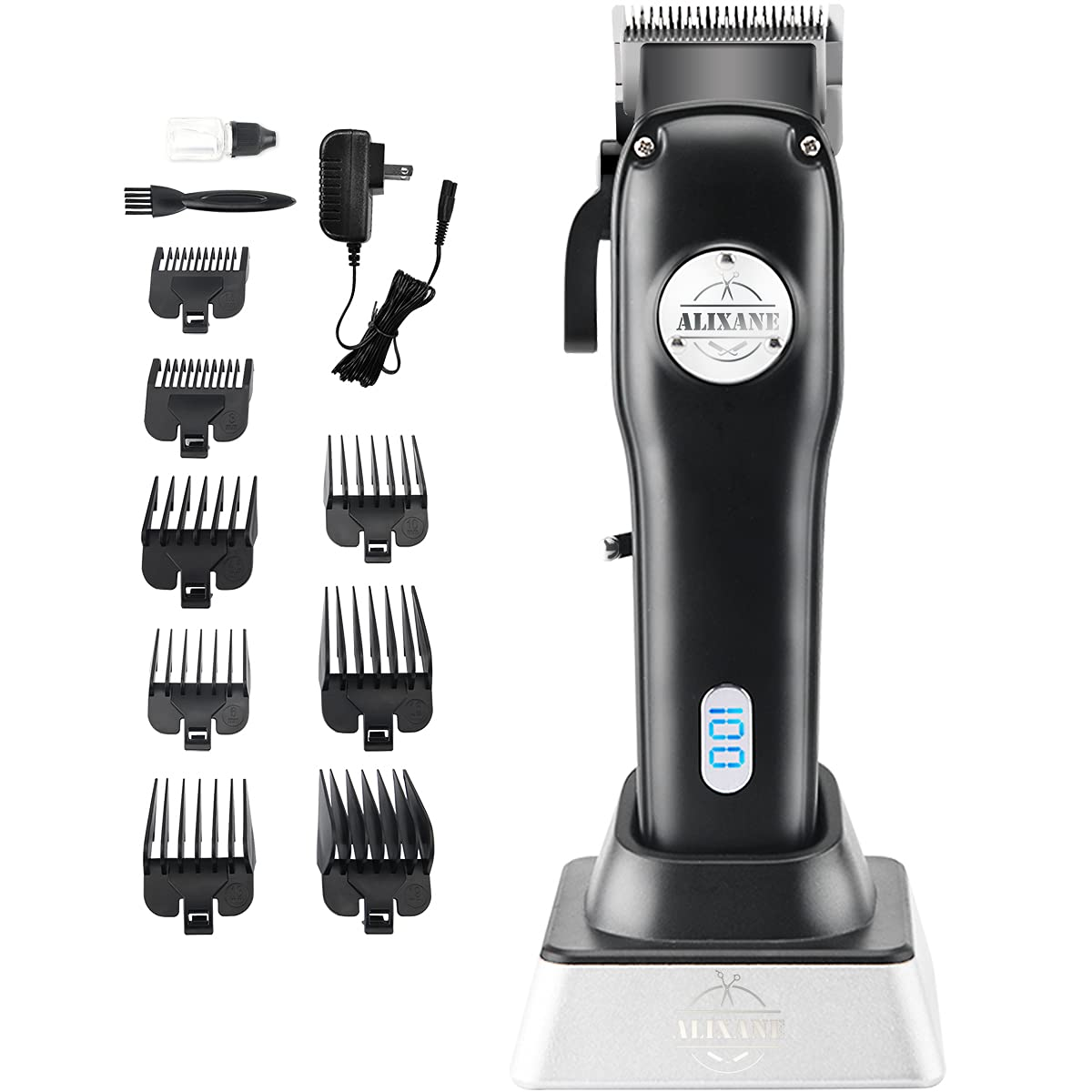 Alixane Cordless Hair Clipper Trimmer for Men, Professional Rechargeable Hair Cutting Kit with Charging Stand and 8 Guided Combs, Haircut Grooming Set for Home and Barbers
